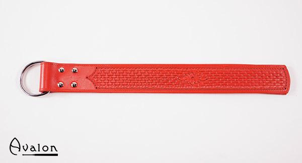 Avalon – Lang paddle med D-ring og dekor, rød